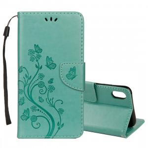 Étui à rabat horizontal en cuir avec motif papillon en relief avec porte-cartes et porte-monnaie et porte-monnaie pour iPhone XS Max (vert) SH014G1091-20
