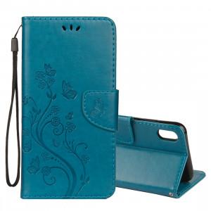 Étui à rabat horizontal en cuir avec motif papillon en relief avec porte-cartes et porte-monnaie et porte-monnaie pour iPhone XS Max (bleu) SH014L697-20