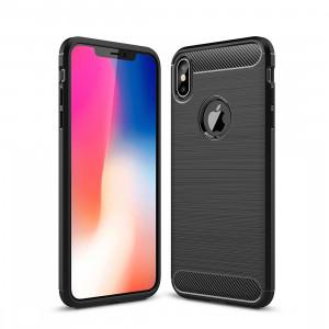 Étui de protection arrière en TPU antidérapant en fibre de carbone à texture brossée pour iPhone XS Max (noir) SH052B851-20