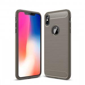 Housse de protection en TPU antichoc en fibre de carbone à texture brossée pour iPhone XS Max (Gris) SH052H1347-20