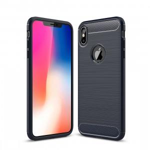 Étui de protection arrière en TPU antidérapant en fibre de carbone à texture brossée pour iPhone XS Max (bleu marine) SH52NV353-20