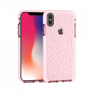 Coque TPU Diamond Texture pour iPhone XS Max (rose) SH512F1437-20