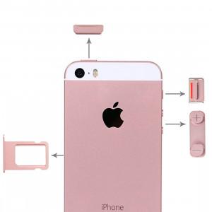 iPartsBuy pour iPhone SE Boutons latéraux + plateau de carte SIM (or rose) SI62RG1543-20