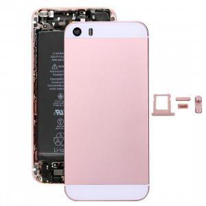 iPartsAcheter 5 en 1 pour iPhone SE Original (Couverture arrière + Porte-cartes + Touche de contrôle du volume + Bouton d'alimentation + Touche de vibreur interrupteur muet) Couvercle de boîtier complet (Or rose) SI00RG1008-20