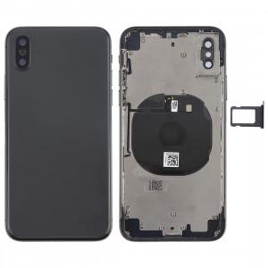 Couvercle de la batterie avec touches latérales et module de charge sans fil et bouton de volume Câble et bac à cartes pour iPhone X (Noir) SH27BL853-20