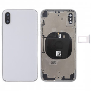 Couvercle de la batterie avec touches latérales et module de charge sans fil et bouton de volume Câble et bac à cartes Flex pour iPhone X (Blanc) SH27WL1633-20