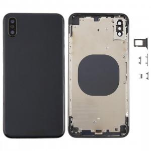 Coque arrière avec objectif pour appareil photo, plateau de carte SIM et touches latérales pour iPhone XS Max (noir) SH06BL1399-20