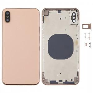 Coque arrière avec objectif pour appareil photo, plateau de carte SIM et touches latérales pour iPhone XS Max (Or) SH06JL604-20