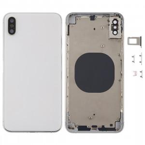 Coque arrière avec objectif pour appareil photo, plateau de carte SIM et touches latérales pour iPhone XS Max (blanc) SH06WL364-20