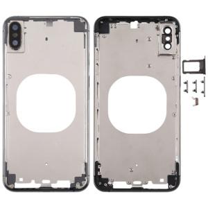 Cache arrière transparent avec objectif de caméra, plateau de carte SIM et touches latérales pour iPhone XS Max (noir) SH667B702-20