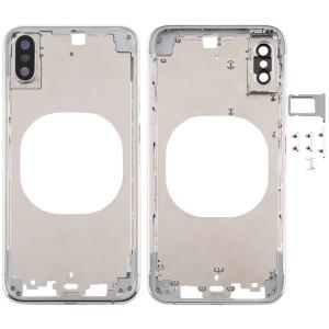 Cache arrière transparent avec objectif de caméra, plateau de carte SIM et touches latérales pour iPhone XS (blanc) SH288W975-20