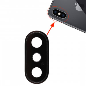 Lunette arrière pour appareil photo avec cache-objectif pour iPhone XS / XS Max (noir) SH313B1654-20