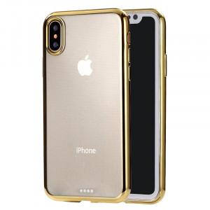 Etui de protection arrière en TPU ultra-mince pour la galvanoplastie pour iPhone XR (or) SH432J1630-20