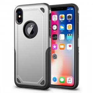 Étui de protection antichoc résistant à l'armure pour iPhone XR (argent) SH869S157-20