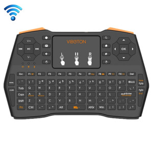 VIBOTON i8 Plus Mis à jour 2.4GHz QWERT Mini clavier sans fil avec pavé tactile pour TV Box, Mi Box, ordinateur, tablette, ordinateur portable et projecteur (Noir) SV20901583-20