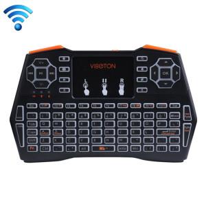 VIBOTON i8 Plus 2.4GHz mini souris sans fil Fly Air Mouse complet avec rétro-éclairage et Touchpad et contrôle multimédia pour PC, TV (noir) SV203B1536-20