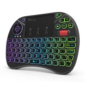 Rii I8X RT716 2.4 GHz Mini Sans Fil QWERTY 71 Clavier Clavier 2.5 pouce Touchpad Combo avec Rétroéclairage (Noir) SR5220285-20