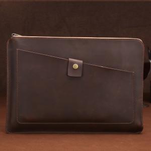 Sac de comprimé d'ordinateur portable de glissière d'affaires en cuir véritable universel, pour 15,4 pouces et ci-dessous Macbook, Samsung, Lenovo, Sony, DELL Alienware, CHUWI, ASUS, HP (café) SS982C1889-20