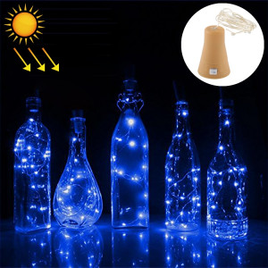 Lumière de fil de cuivre solaire de fil de lumière bleue de 1m, 10 LED Lumière décorative de lampe de fée de SMD 0603 avec le bouchon de bouteille, DC 5V SH76BL892-20