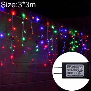 UL588 3m (longueur) x 3m (hauteur) Rideau lumineux LED IP43, éclairage décoratif à fée de 300 LEDs avec joint d'extrémité et 8 fonctions de modèle, prise US (lumière colorée) SH38CL1789-20