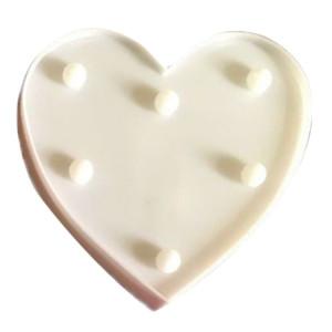 Forme de coeur créative lumière de décoration blanche chaude LED, 2 piles AA alimentées fête fête table table mariage lampe veilleuse (blanc) SH081W651-20