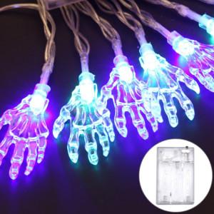 2.5m Ghost Hand Design Colorful Light Série Halloween String Light LED, 20 LEDs 3 x piles AA Boîte opéré partie Props fée décoration lampe de nuit SH69CL853-20