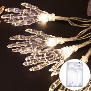 2,5 m Ghost Hand Design lumière blanche et chaude, série de lumières à DEL de la série Halloween, 20 LED, 3 piles AA, piles, boîte, accessoires de fête, décoration de fée, lampe de nuit SH69WW1980-20