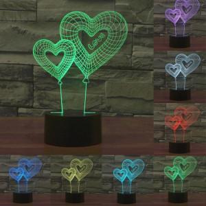 Double Heart Balloon Style 7 Coloration de décoloration Creative Laser stéréo Lampe 3D Touch Switch Control LED Light Lampe de bureau Night Light SD28815-20