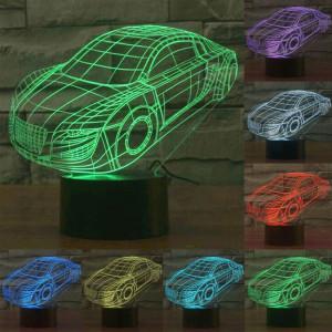 Style de voiture 7 Couleur de décoloration Lampe de stéréo visuelle créative Commande de commutation tactile 3D Lumière de lumière LED Lampe de bureau Lampe de nuit SS28828-20