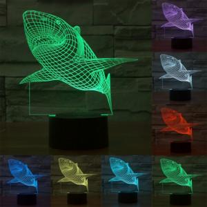 Shark Style 7 Couleur Décoloration Creative Visual Stéréo Lampe 3D Touch Switch Control LED Light Lampe de bureau Night Light SS28842-20
