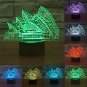 Sydney Opera House Style 7 Décoloration des couleurs Lampe stéréo visuelle créative Contrôle tactile 3D Commande LED Lumière Lampe de bureau Lampe de nuit SS28863-20