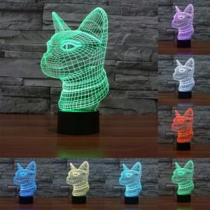 Side Face Cat Style 7 Couleur de décoloration Creative Visual stéréo lampe 3D Touch Switch Control LED Light Lampe de bureau Night Light SS28895-20