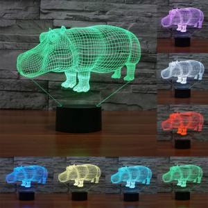 Rhino Style 7 Couleur Décoloration Creative Laser stéréo Lampe 3D Touch Switch Control LED Light Lampe de bureau Night Light SR28916-20