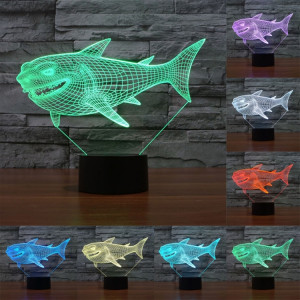 Side Face Shark Style 7 Décoloration de couleur Lampe stéréo visuelle créative Commutateur tactile 3D Commande LED Light Lampe de bureau Night Light SS28927-20