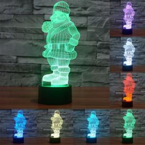 Santa Claus Style 7 Color Deccoloration Creative Visual stéréo lampe 3D Touch Switch Control LED Light Lampe de bureau Night Light SS28951-20