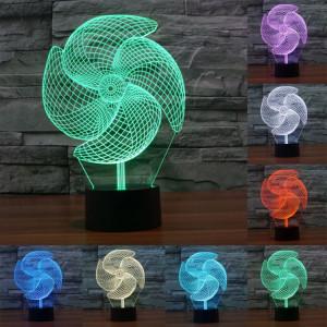 Big Pinwheel Style 7 Couleur Décoloration Creative Laser stéréo Lampe 3D Touch Switch Control LED Light Lampe de bureau Night Light SB28961-20
