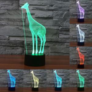 Giraffe Style 7 Couleur Décoloration Creative Laser stéréo Lampe 3D Touch Switch Control LED Light Lampe de bureau Night Light SG28976-20