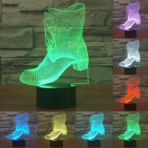 Boots Style 7 Couleur Décoloration Creative Laser stéréo Lampe 3D Touch Switch Control LED Light Lampe de bureau Night Light SB28992-20