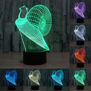 Style d'escargot 7 Décoloration des couleurs Lampe stéréo visuelle créative Commande tactile 3D Commande LED Lumière Lampe de bureau Lampe de nuit SS29003-20