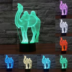 Camel Style 7 Couleur Décoloration Creative Visual stéréo lampe 3D Touch Switch Control LED Light Lampe de bureau Night Light SC29016-20