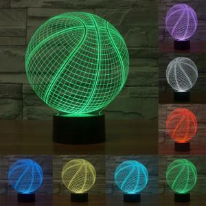Style de basketball 7 Décoloration des couleurs Lampe stéréo visuelle créative Commutateur tactile 3D Commande LED Lumière Lampe de bureau Lampe de nuit SS29028-20