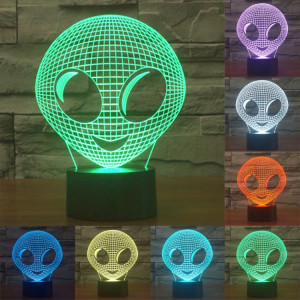 Alien Style 7 Couleur Décoloration Creative Visual stéréo lampe 3D Touch Switch Control LED Light Lampe de bureau Night Light SA29077-20