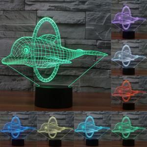 Dolphin Jump Style 7 Color Coloration Décoloration Creative Visual Stéréo Lampe 3D Touch Switch Control LED Light Lampe de bureau Night Light SD29115-20