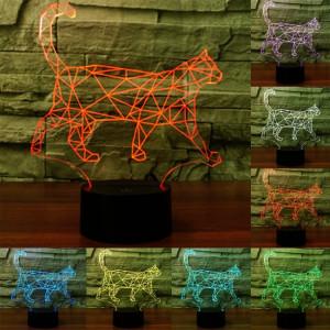 Walking Cat Shape 7 couleurs de décoloration Creative Visual stéréo lampe 3D Touch Switch Control LED Light Lampe de bureau Night Light SW29274-20