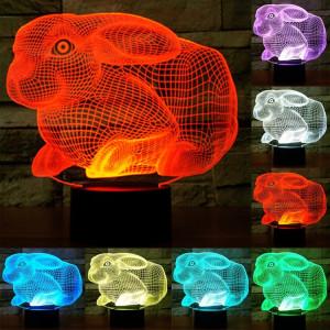 Forme de lapin 7 Couleur de décoloration Lampe de stéréo visuelle créative Commande de commutation tactile 3D Lumière de lumière LED Lampe de bureau Lampe de nuit SF29285-20
