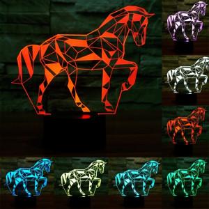 Forme de cheval 7 Couleur de décoloration Lampe de stéréo visuelle créative Commande de commutation tactile 3D Lumière de lumière LED Lampe de bureau Lampe de nuit SF29297-20