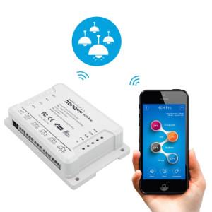 Sonoff 4CH Pro 433MHz Télécommande + WiFi Minuterie Smart Interrupteur, Interlock / Auto-verrouillage, 3 modes de fonctionnement, Compatible avec Alexa et Google Home, Support iOS et Android SS3521241-20