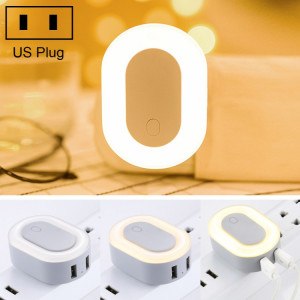 HAPTIME YGH-537 2.1A Portable Plug-in Ports USB Double chargeur mural avec LED Night Light, US Plug SH80DH1111-20