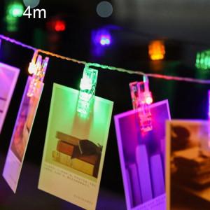 4m lumière colorée Clip photo LED chaîne féerique, 40 LEDs 3 piles AA piles Chaîne Chaîne Lampe Lumière Décorative pour la Maison Photos Suspendues, DIY Party, Mariage, Décoration de Noël SH88CL1146-20