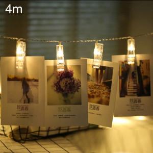 4m lumière de lumière blanche chaude clip photo LED fée chaîne, 40 LED 3 piles AA piles à chaînes boîte lampe décorative pour la maison des images suspendues, fête de bricolage, mariage, décoration de Noël SH88WW1406-20